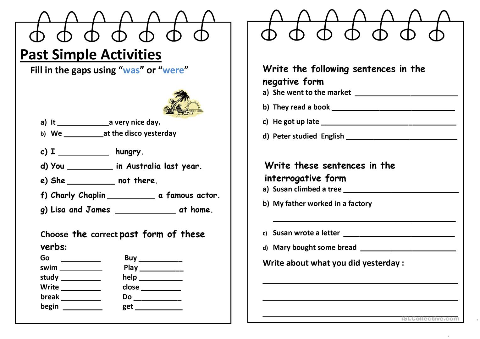 Past Simple Activities Worksheet