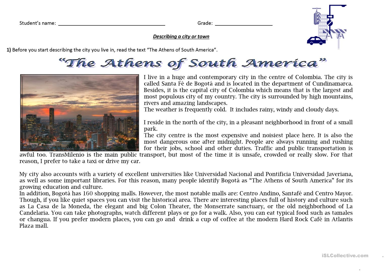Reading And Writing The Athens Of South America Describing A City Or Town Worksheet