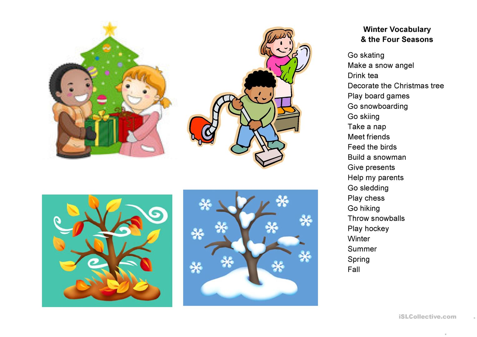 Winter Vocabulary Amp The Four Seasons