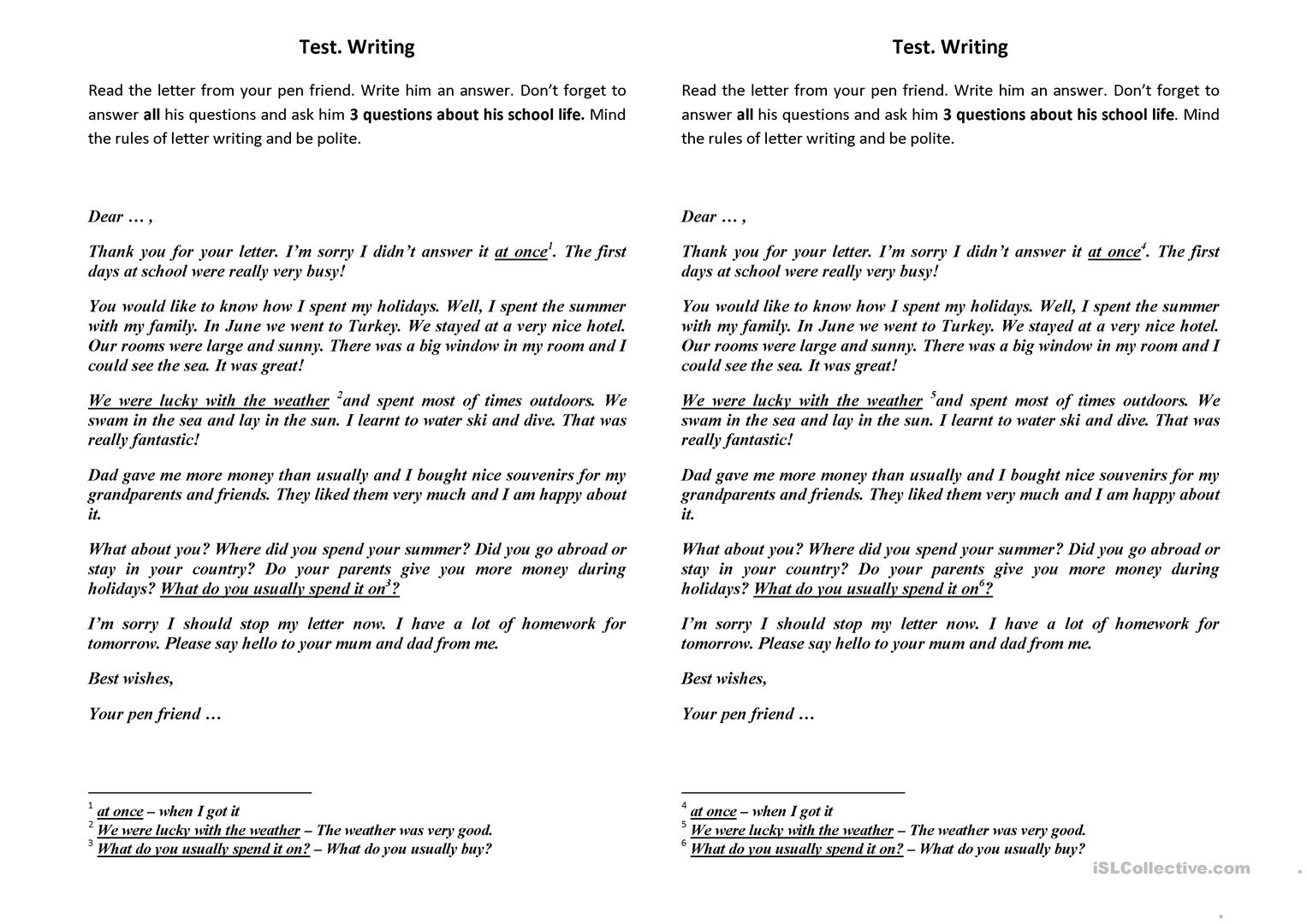 A Letter To Your Pen Friend Worksheet