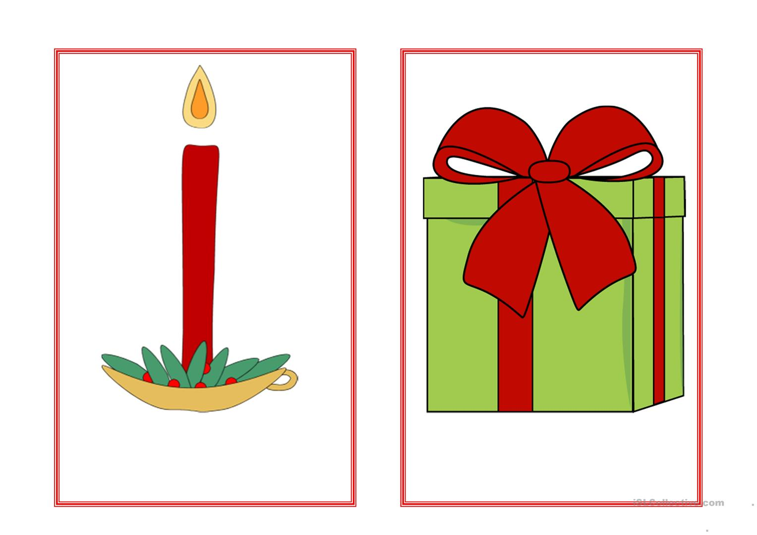 Christmas Flashcards No Text Worksheet