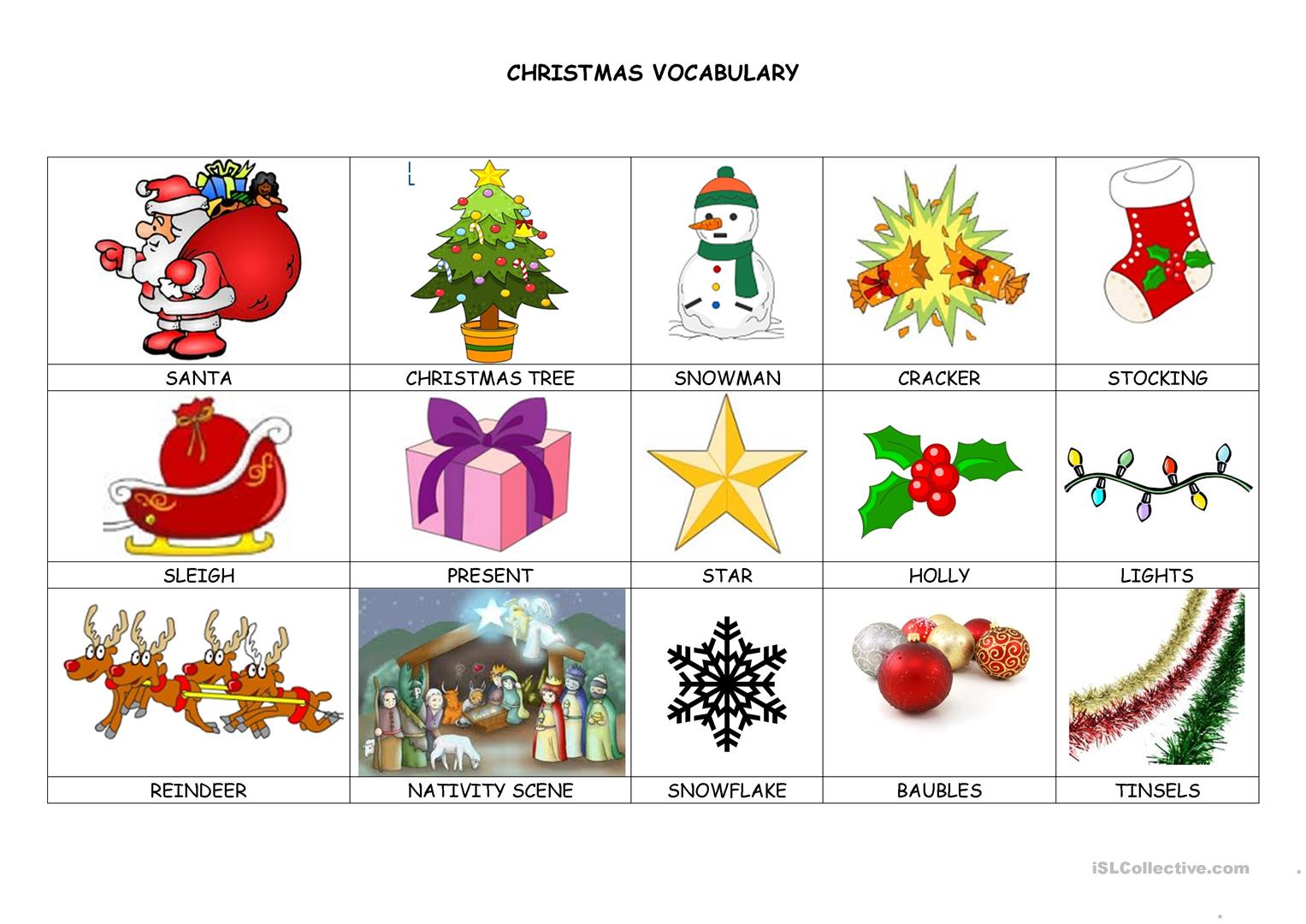 Christmas Decoration Vocabulary List