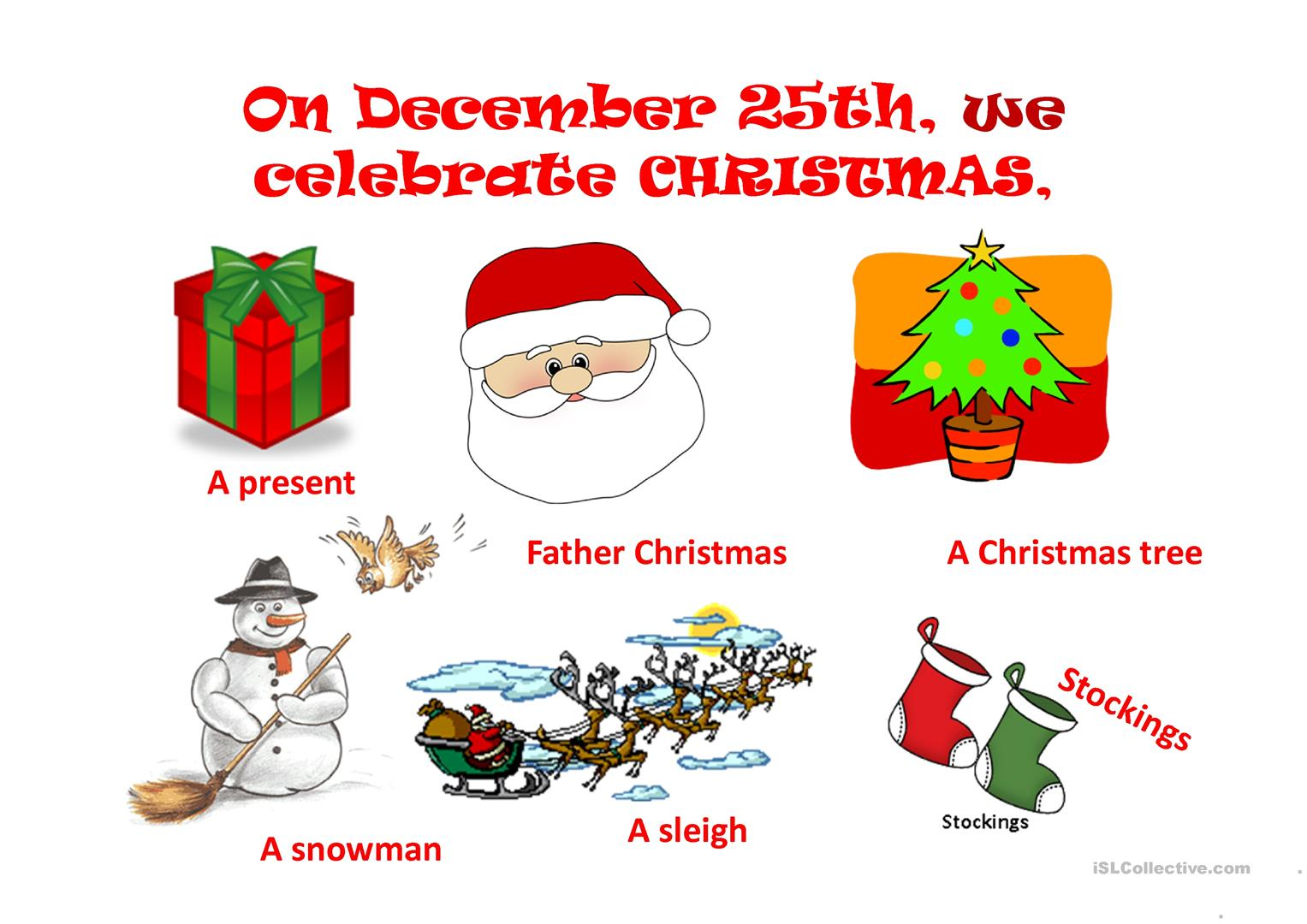 Christmas Vocabulary Pronouns Prepositions And Christmas In England Worksheet