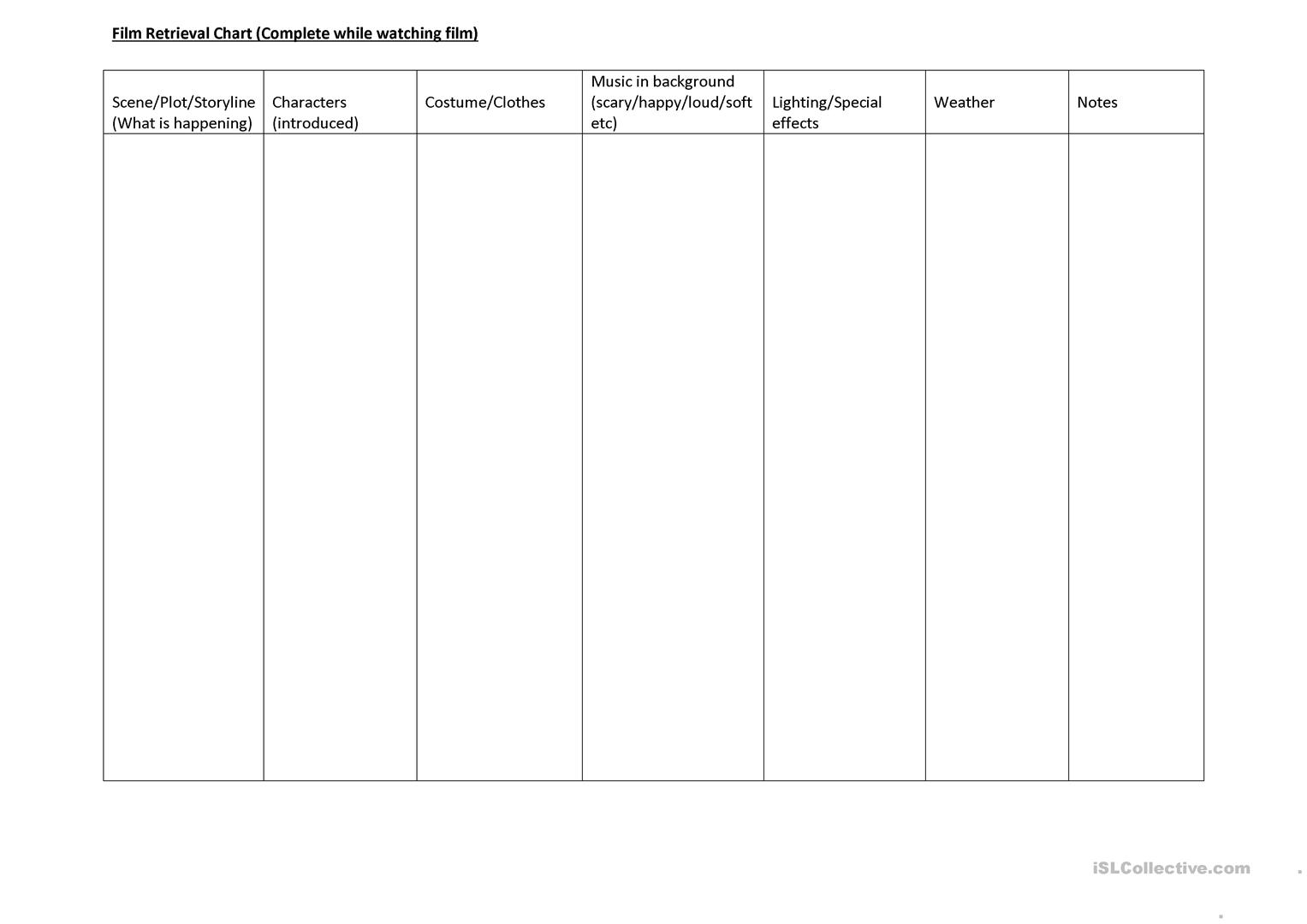 Film Retrieval Chart Worksheet