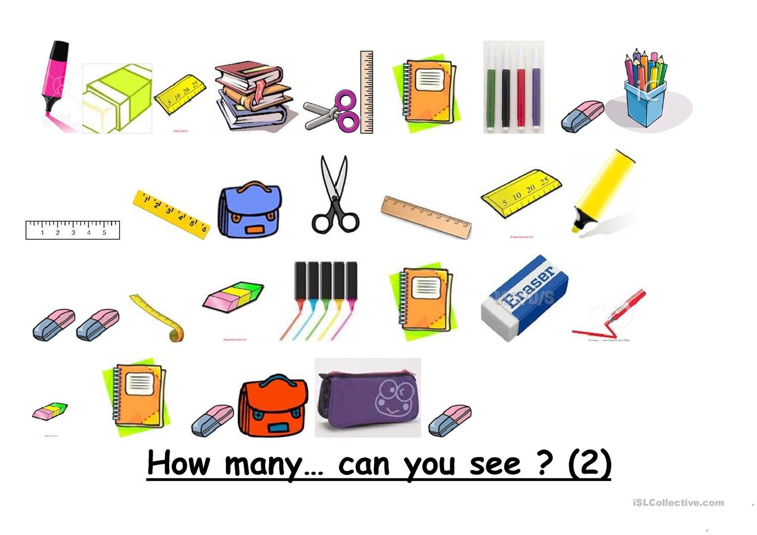 How Many School Objects Can You See Worksheet