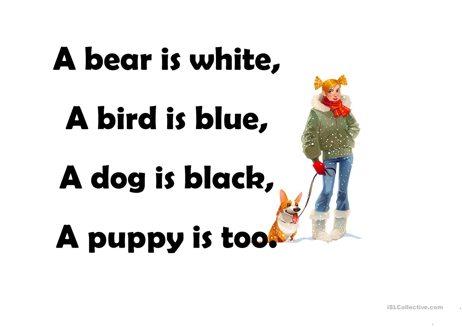 Poems About Animals Worksheet