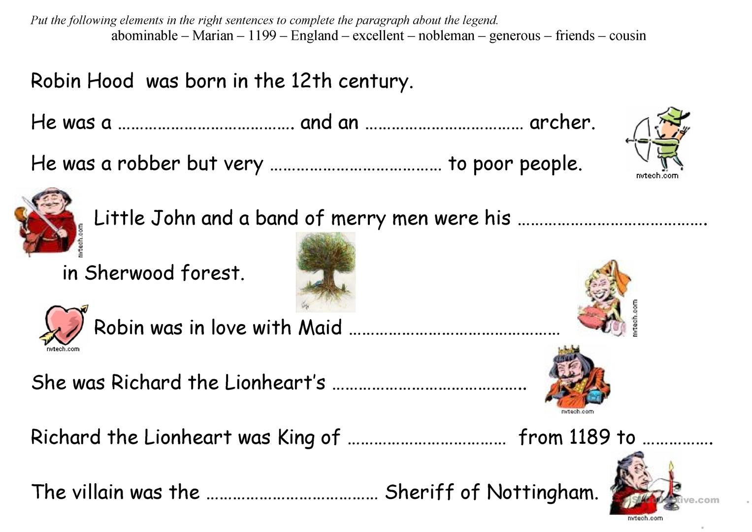 Robin Hood Worksheet