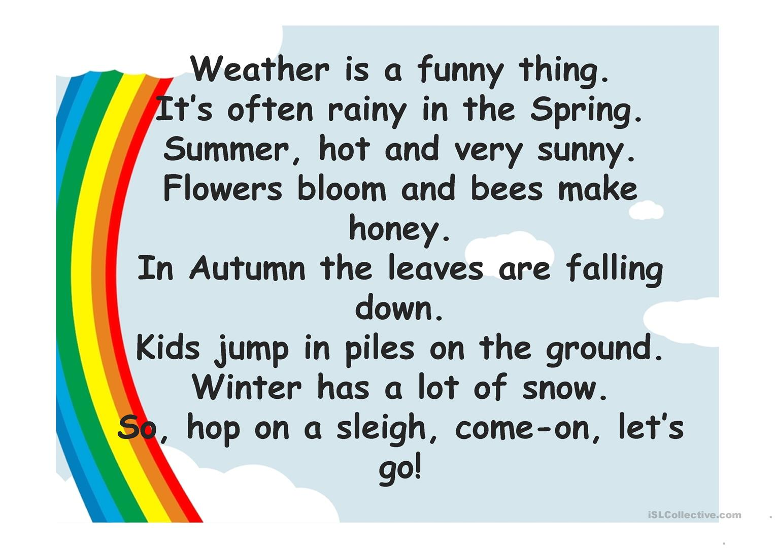 Season Weather Poems Worksheet