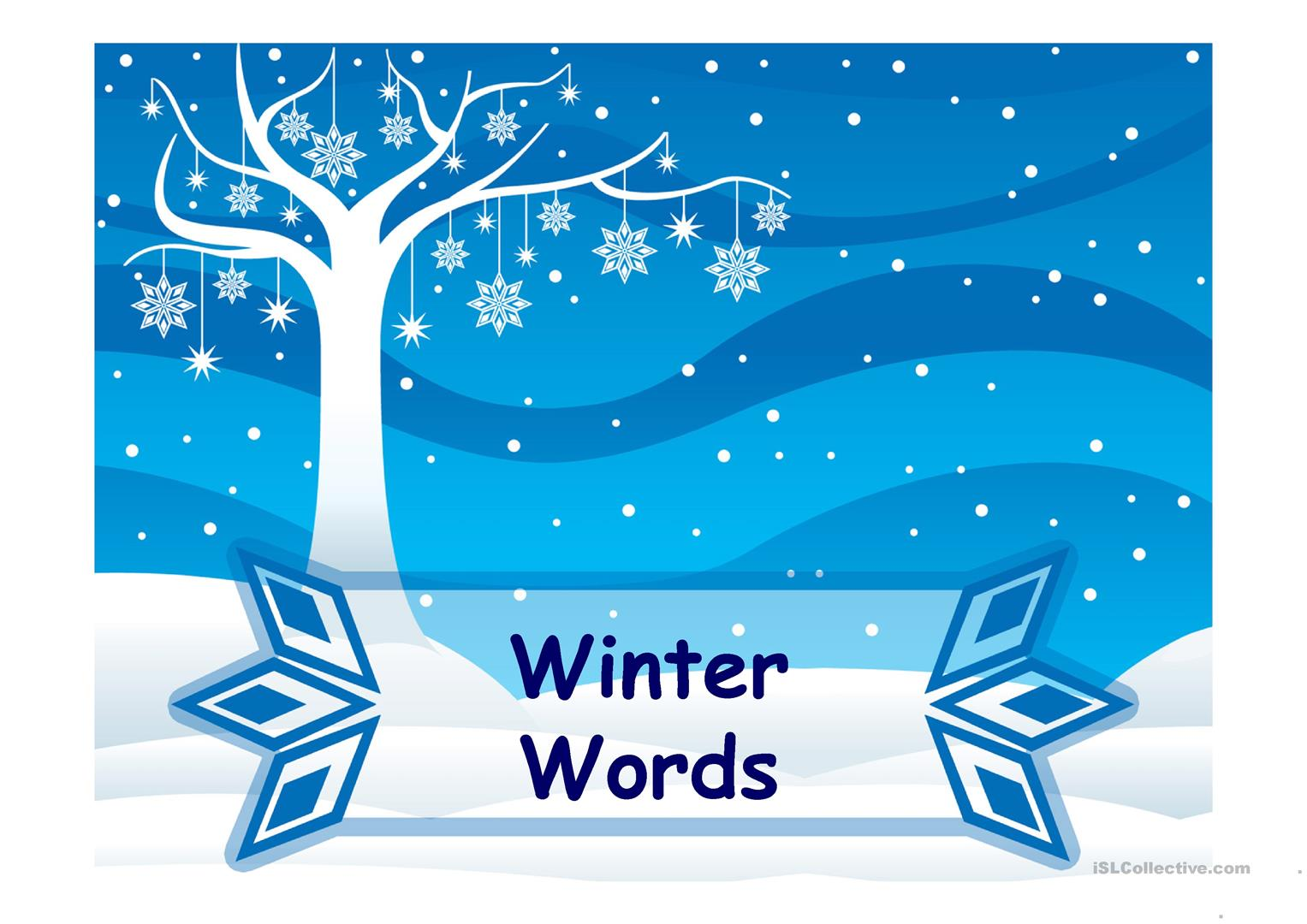 Winter Vocabulary Ppt Worksheet