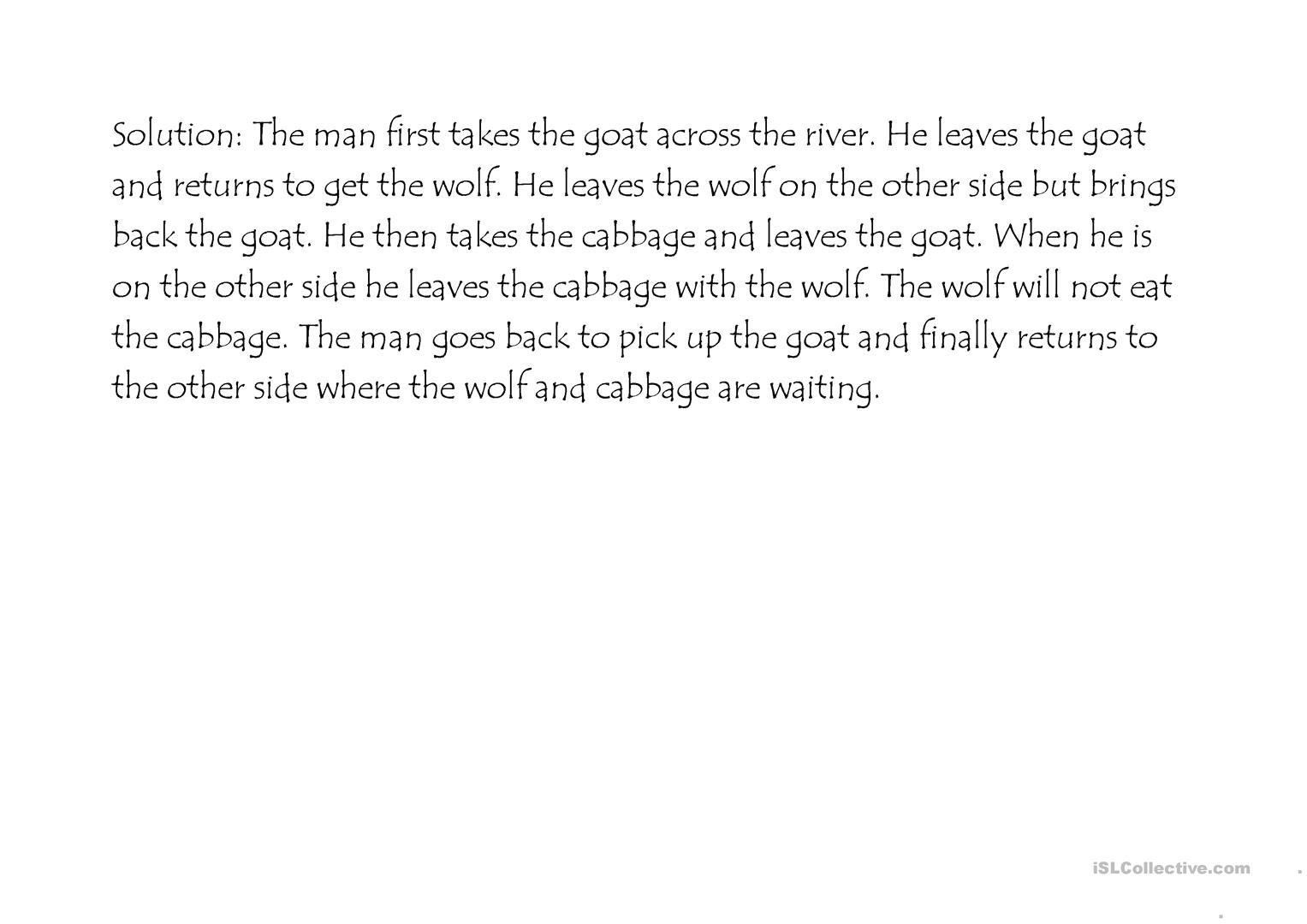 A Man A Wolf A Goat And A Cabbage Worksheet