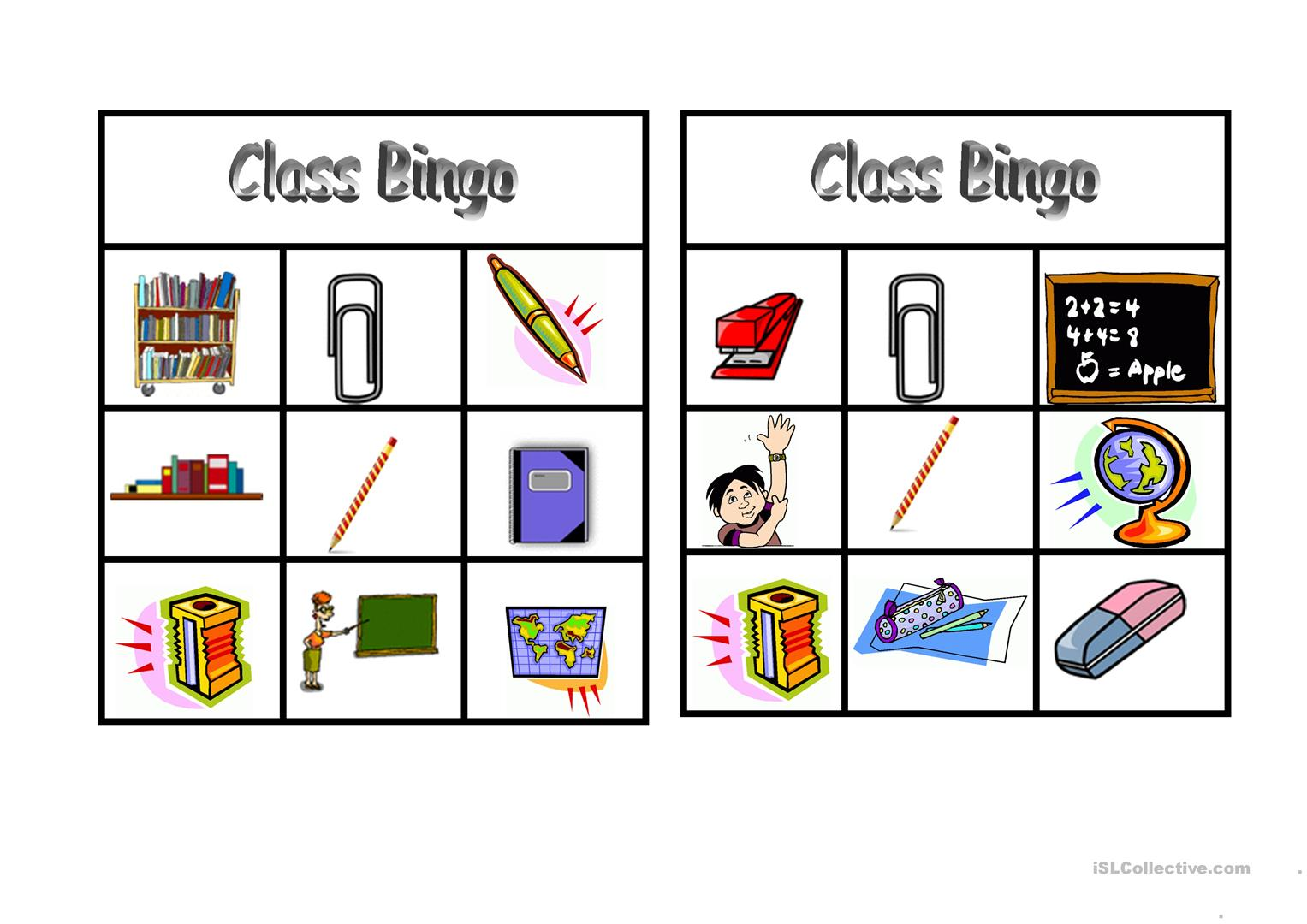 Bingo Classroom Vocabulary Worksheet