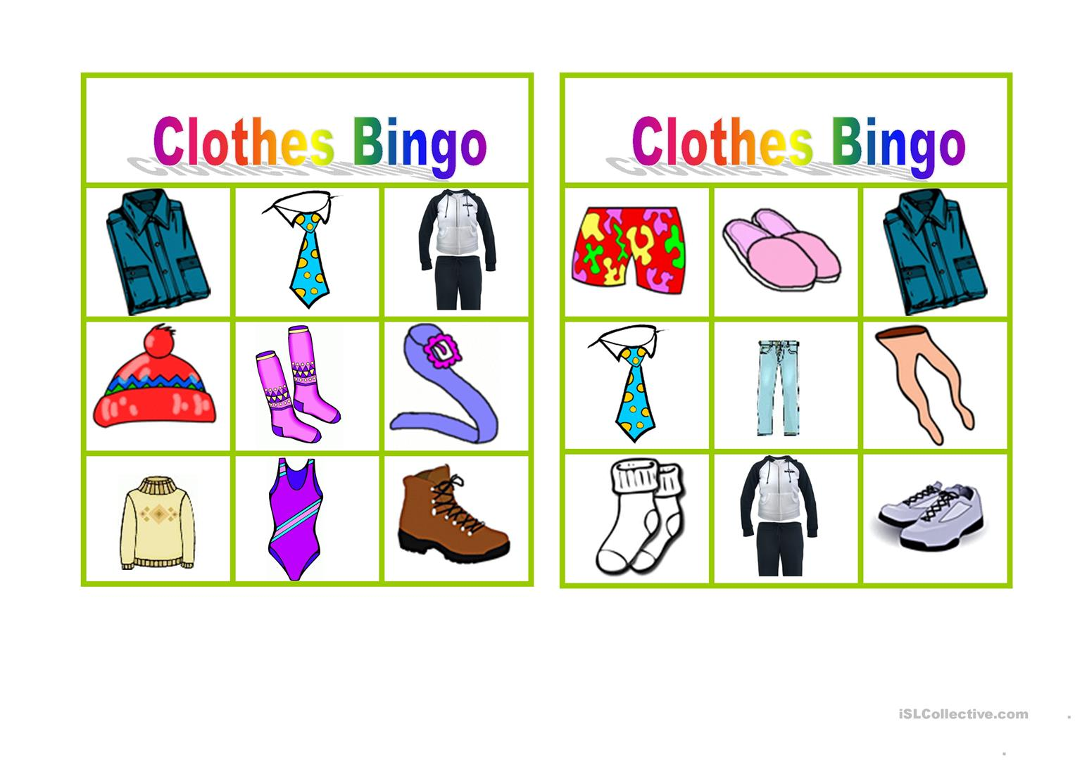 Clothes Worksheet To Print