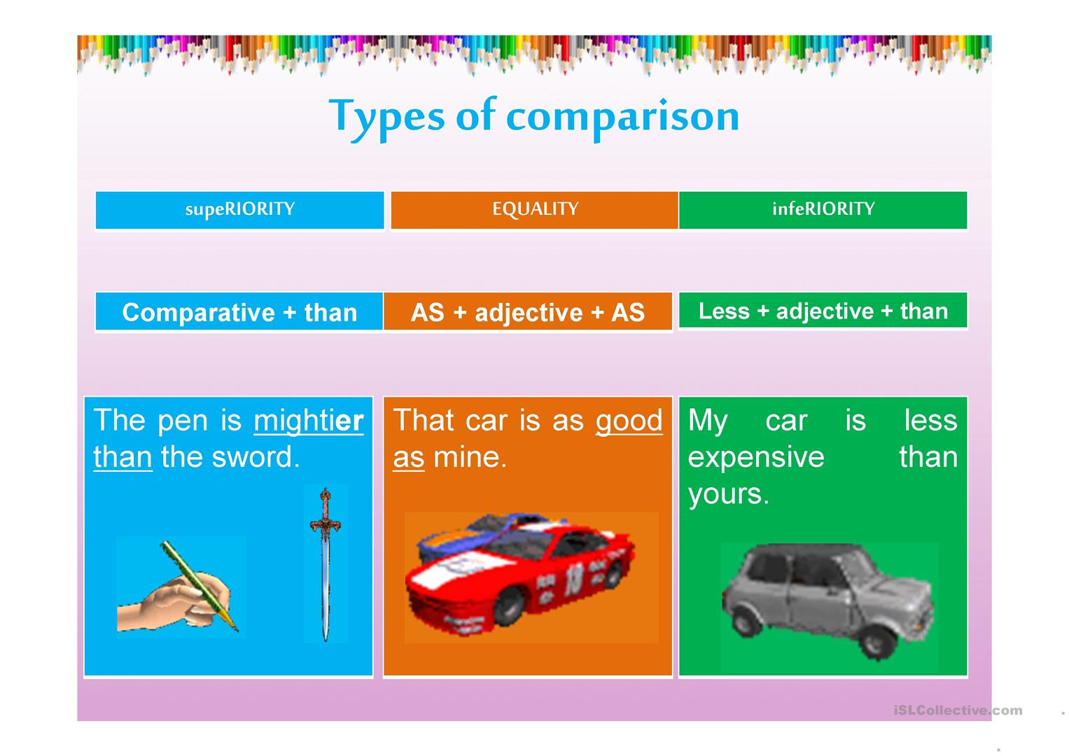 Comparative Adjective Worksheet