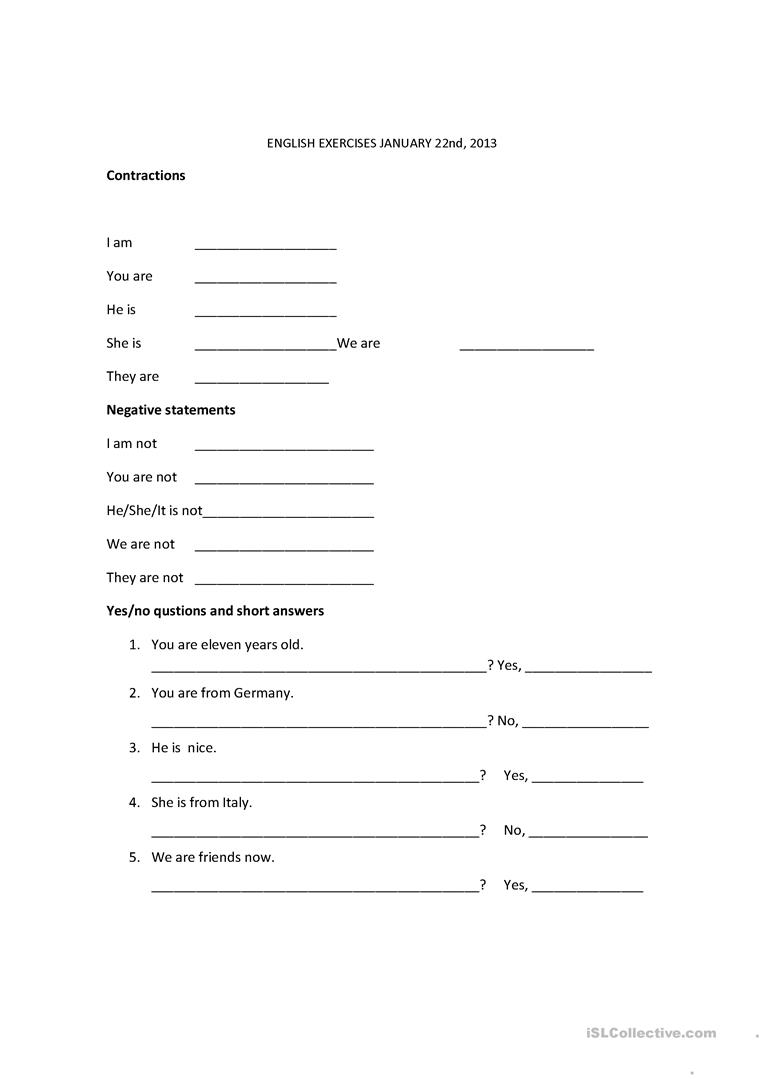 Contractions Verb To Be Worksheet