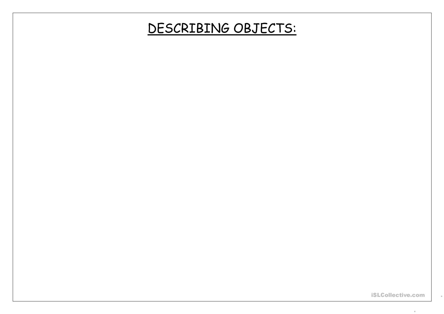 Describing Objects Worksheet