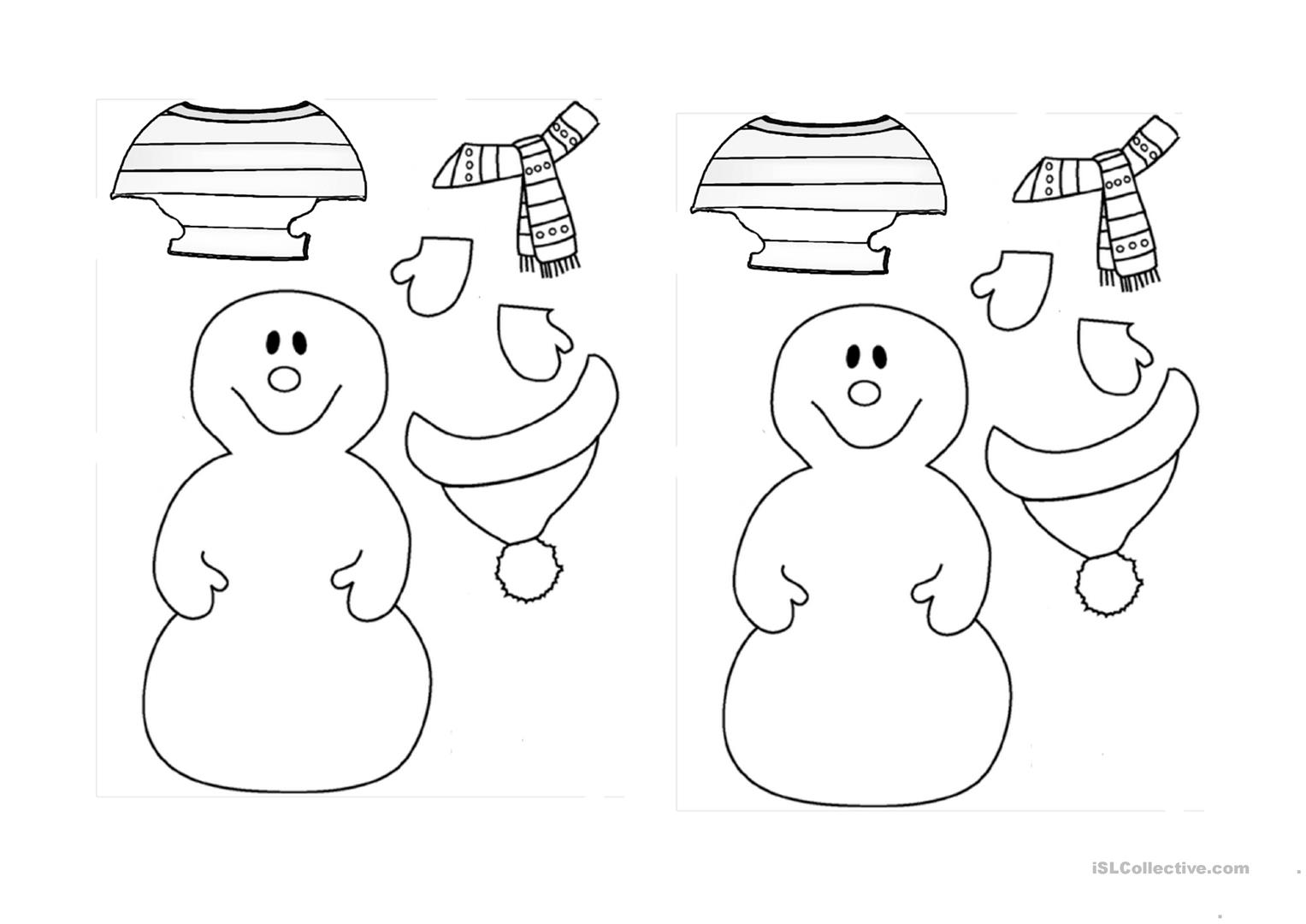 Snowman Worksheet For Kindergarten Snow
