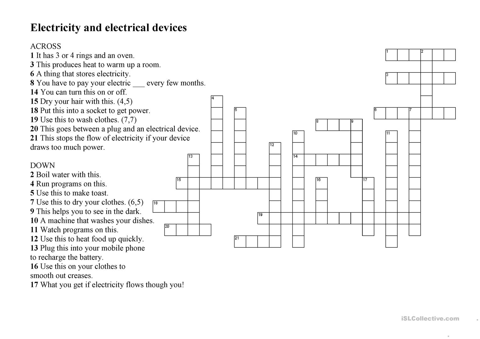 Electricity And Electrical Devices Worksheet