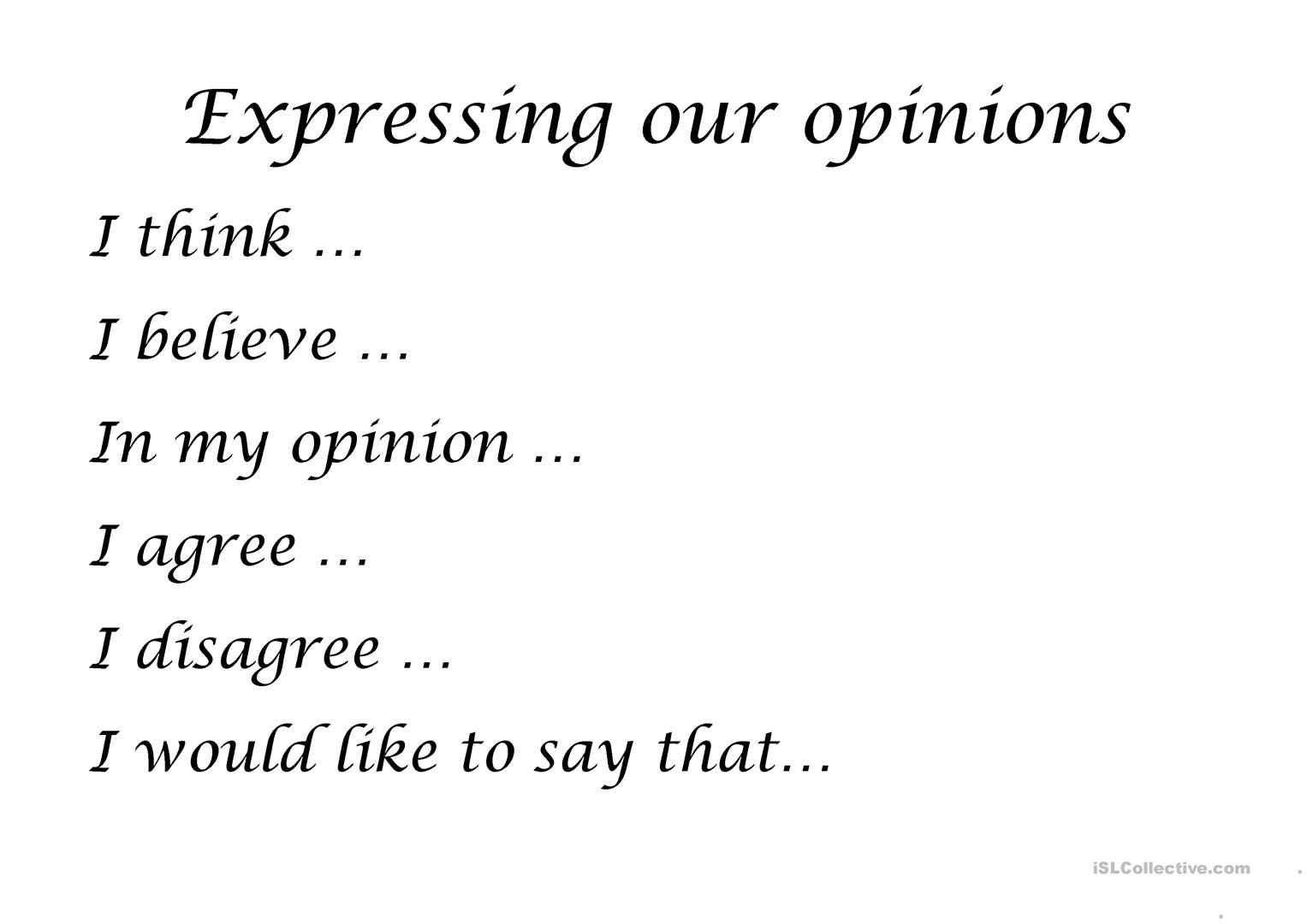 Expressing Opinions Worksheet