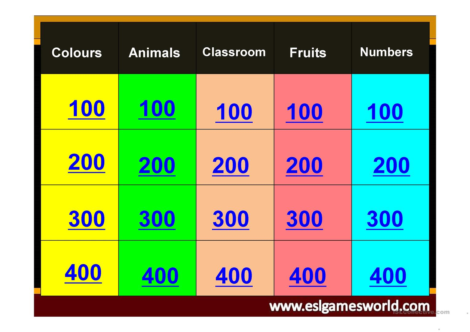 Jeopardy Game Colours Animals Classroom Fruits And Numbers Worksheet
