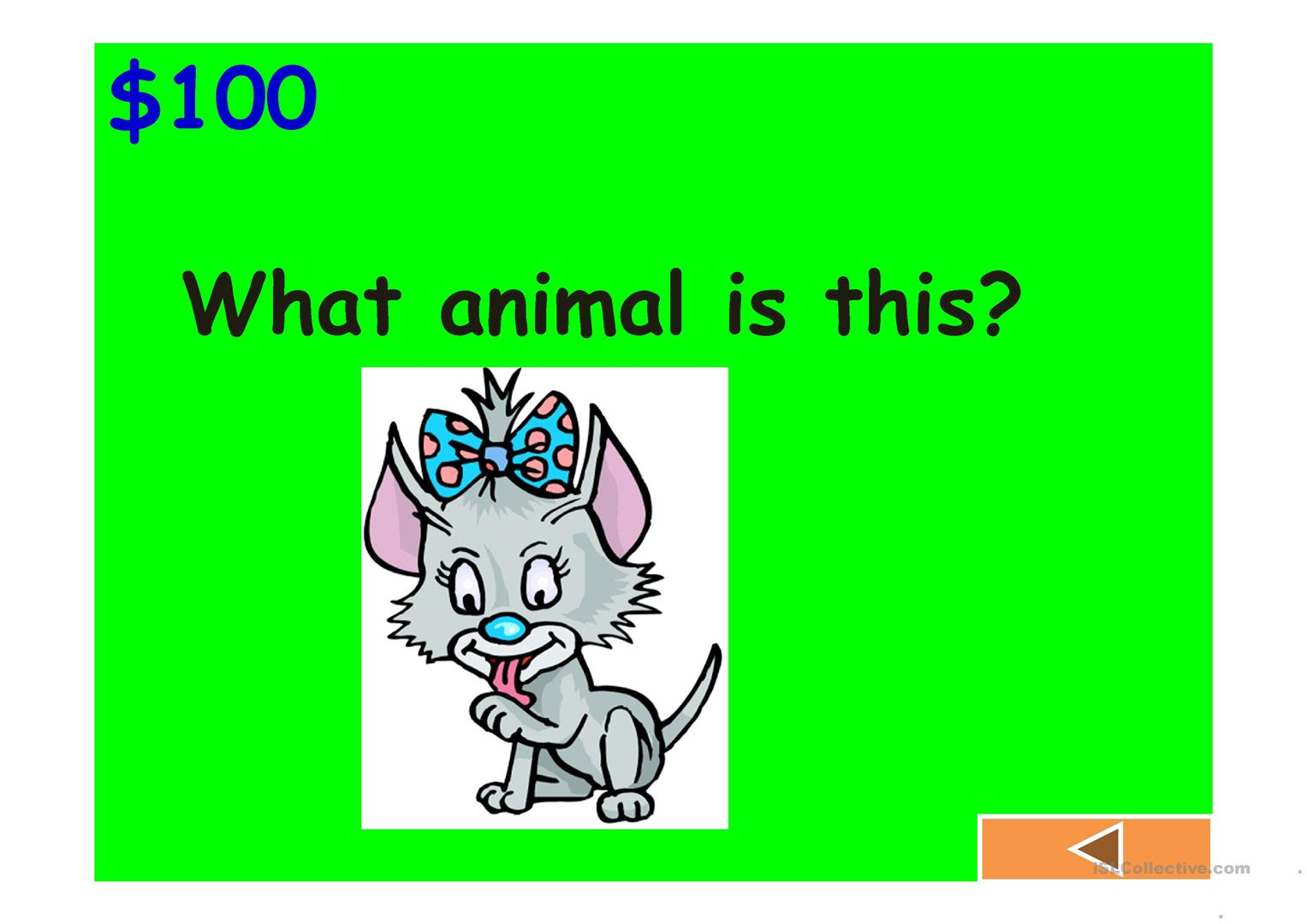 Jeopardy Game Colours Animals Classroom Fruits And