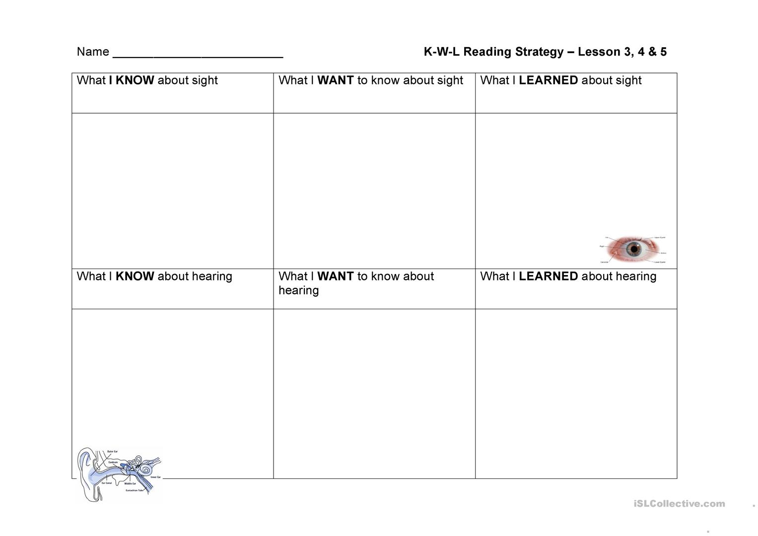 Kwl The 5 Senses Worksheet