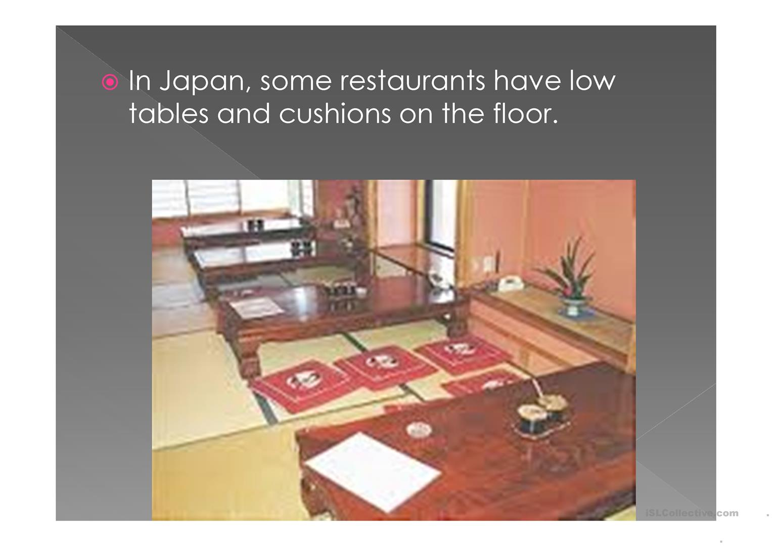 Manners And The Table In Japan Worksheet