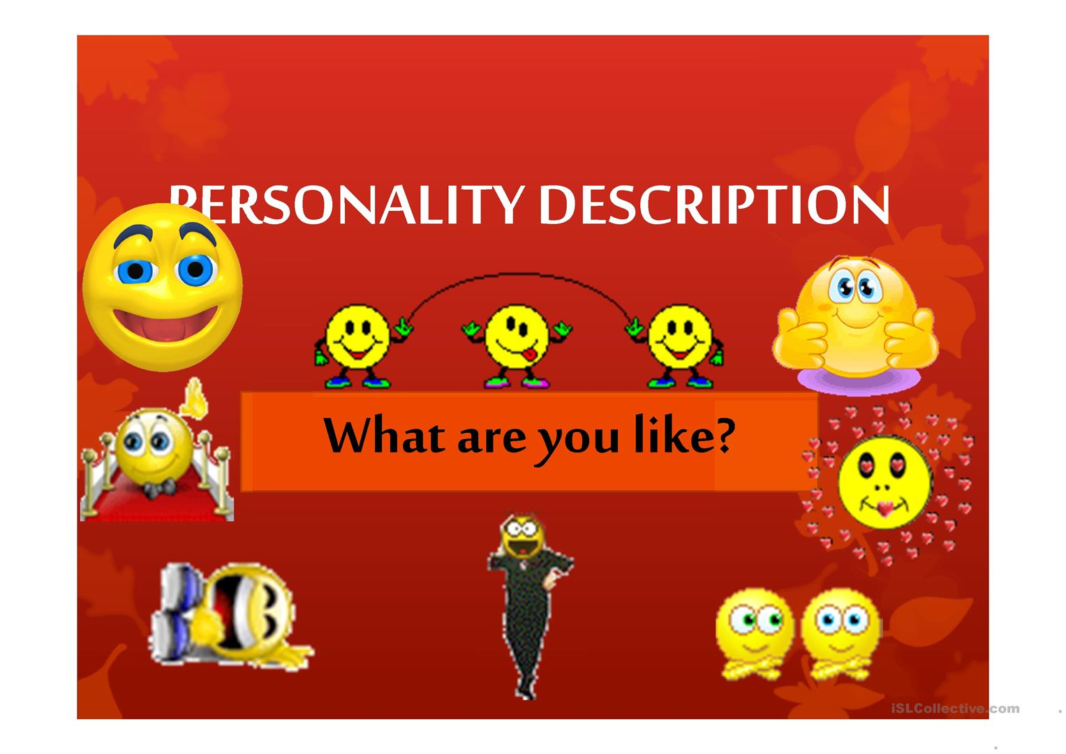 Personality Description Worksheet
