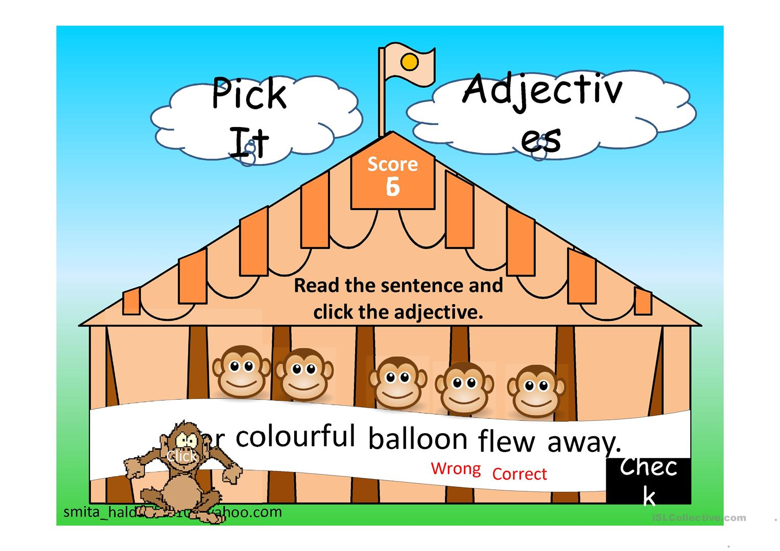 Pick The Adjective Worksheet