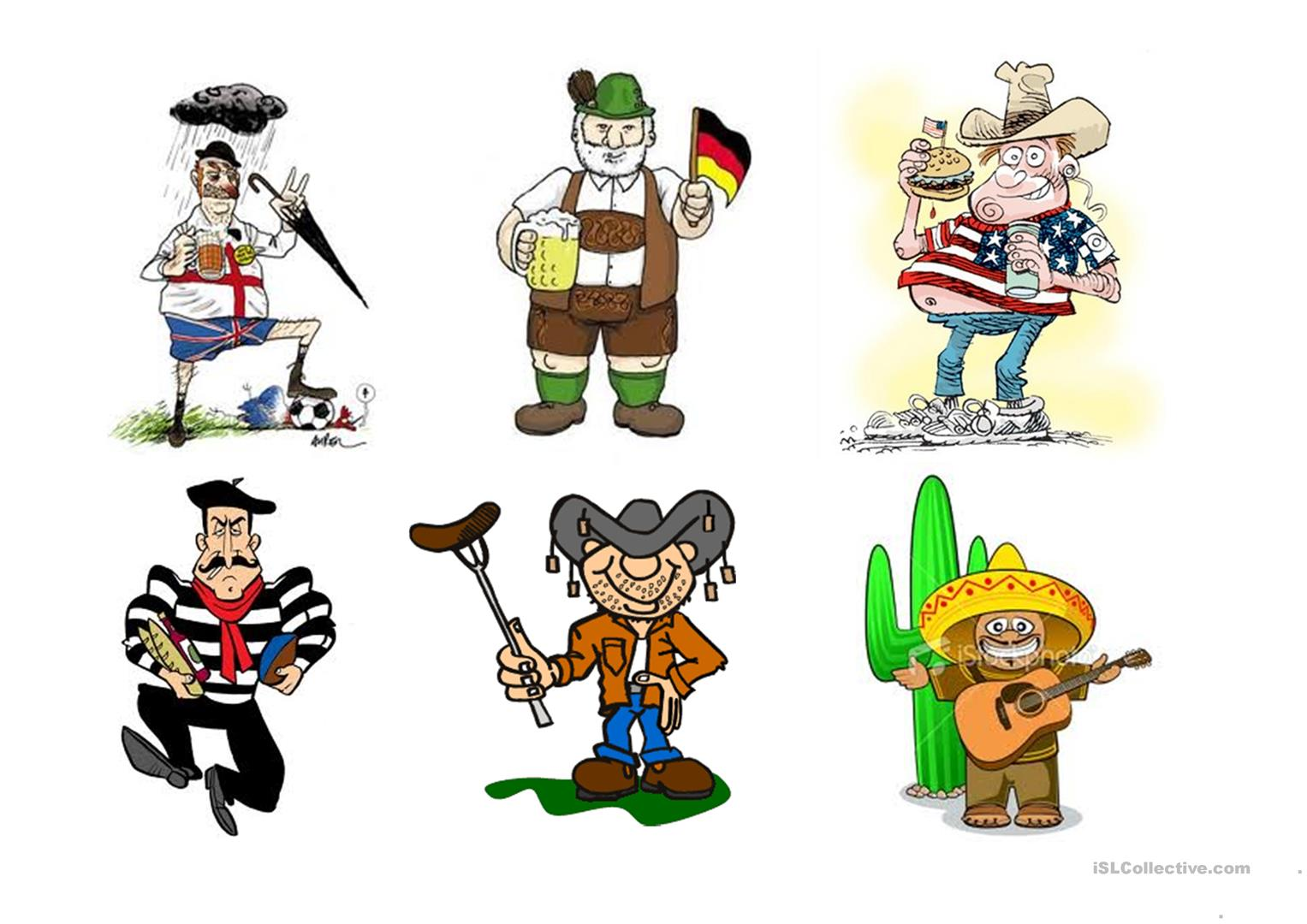 Stereotypes Pictures Worksheet
