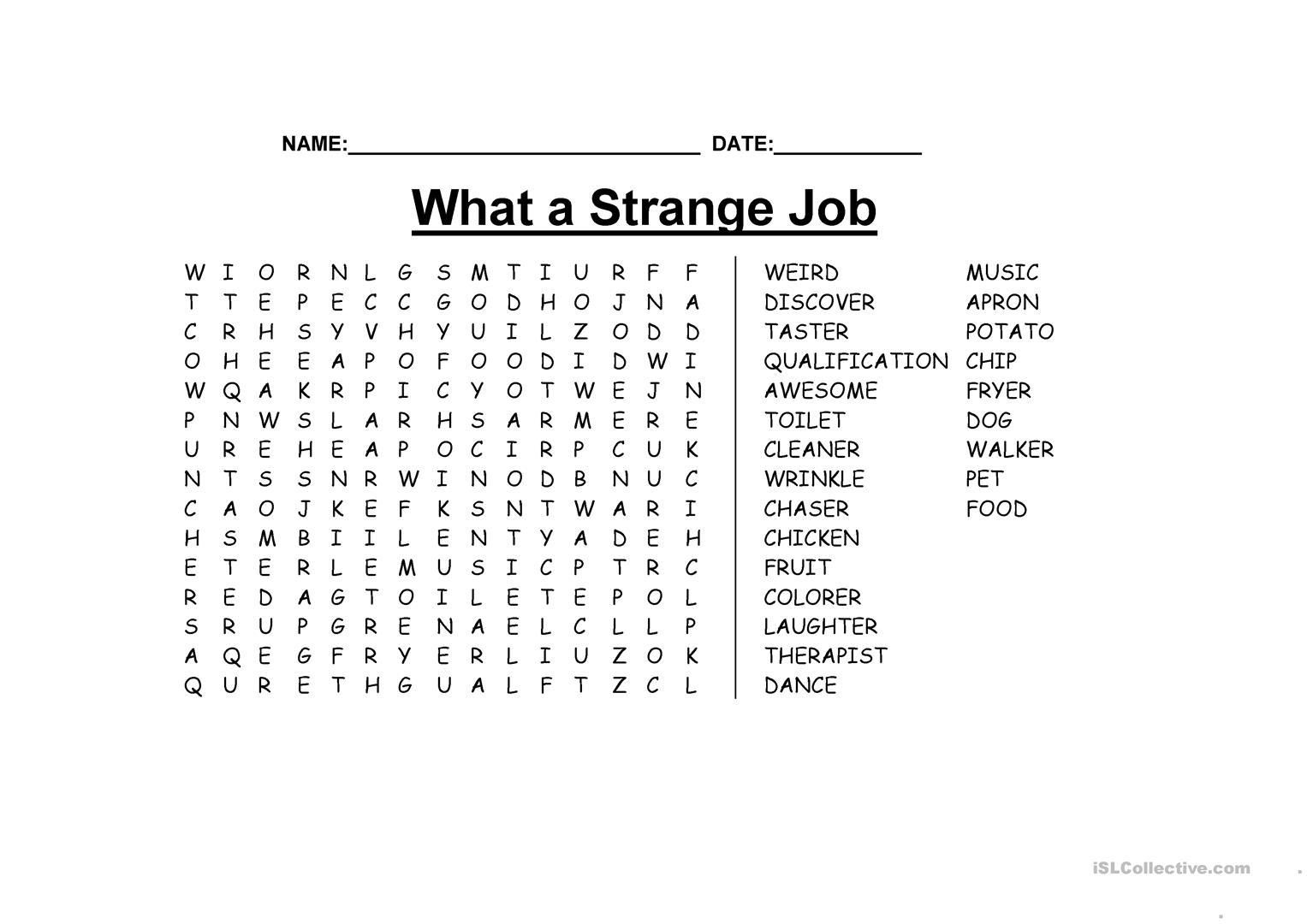 What A Strange Job Wordsearch