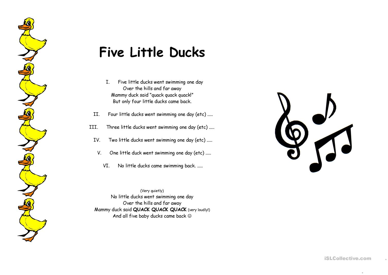5 Little Ducks Worksheet