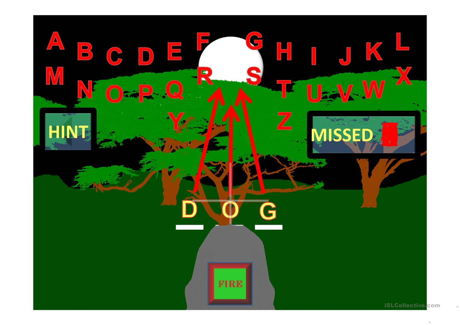 Animal Three Letter Words Shoot The Zombies Game Worksheet