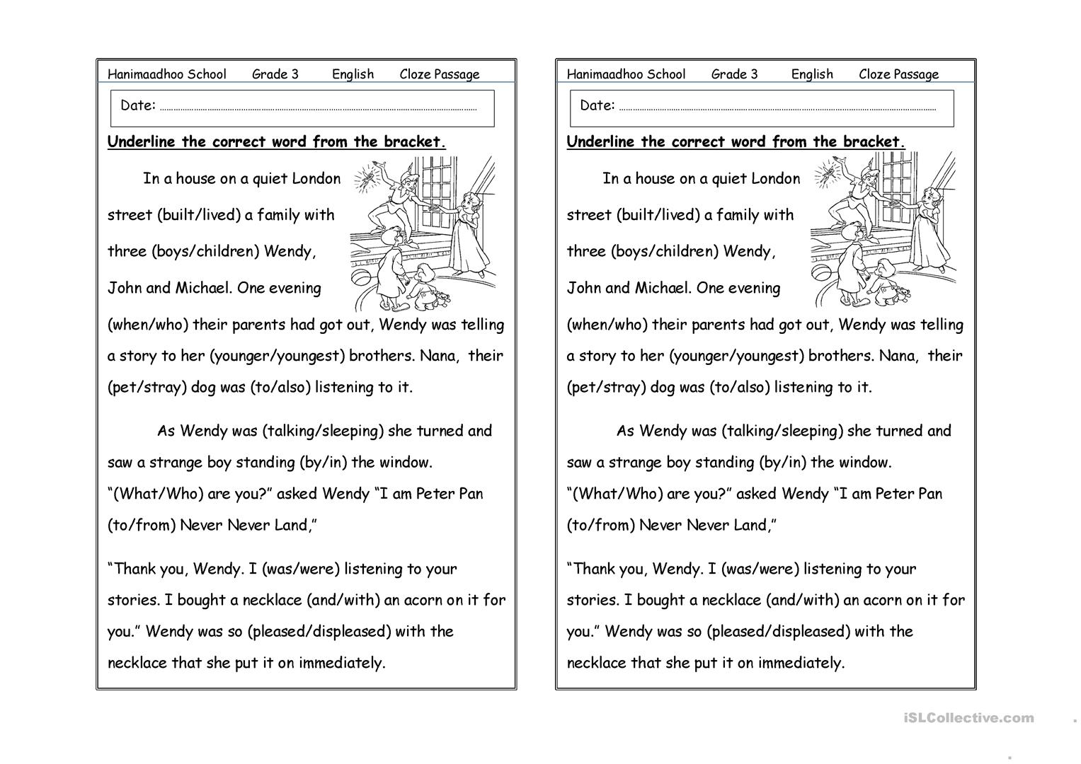 Cloze Passage Worksheet