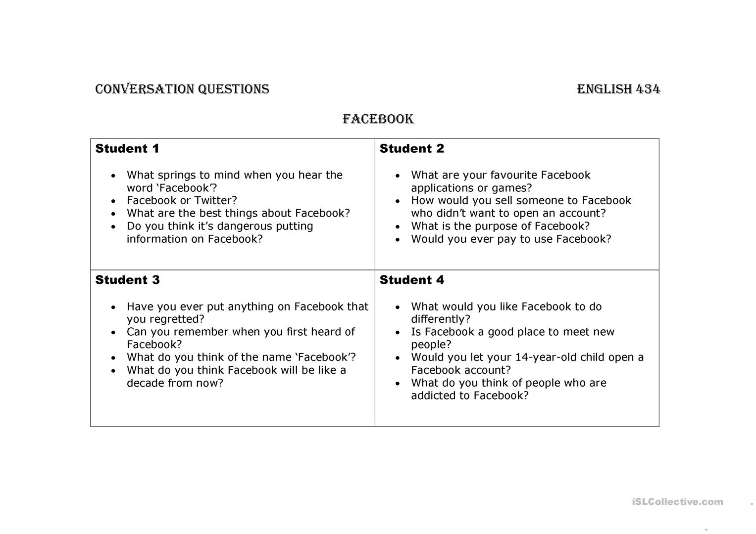 Conversation Question Facebook Worksheet