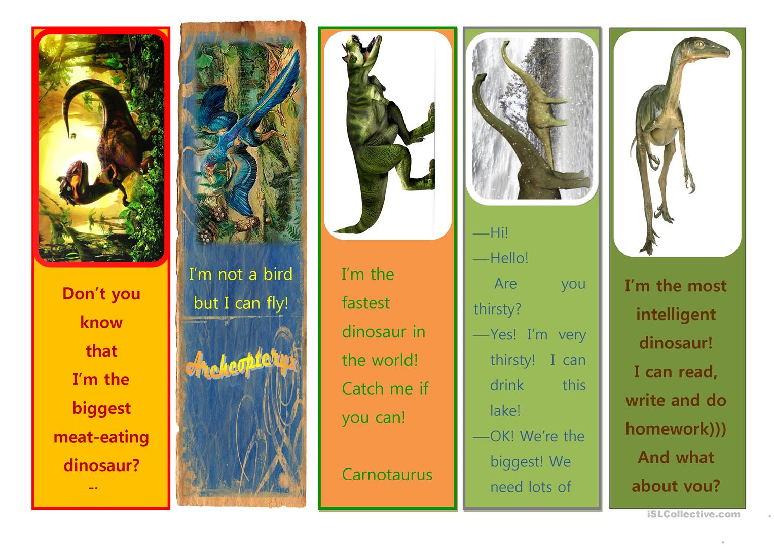 Dino Bookmarks Worksheet