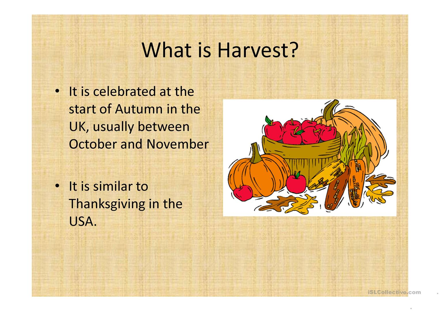 Harvest And Thanksgiving Worksheet