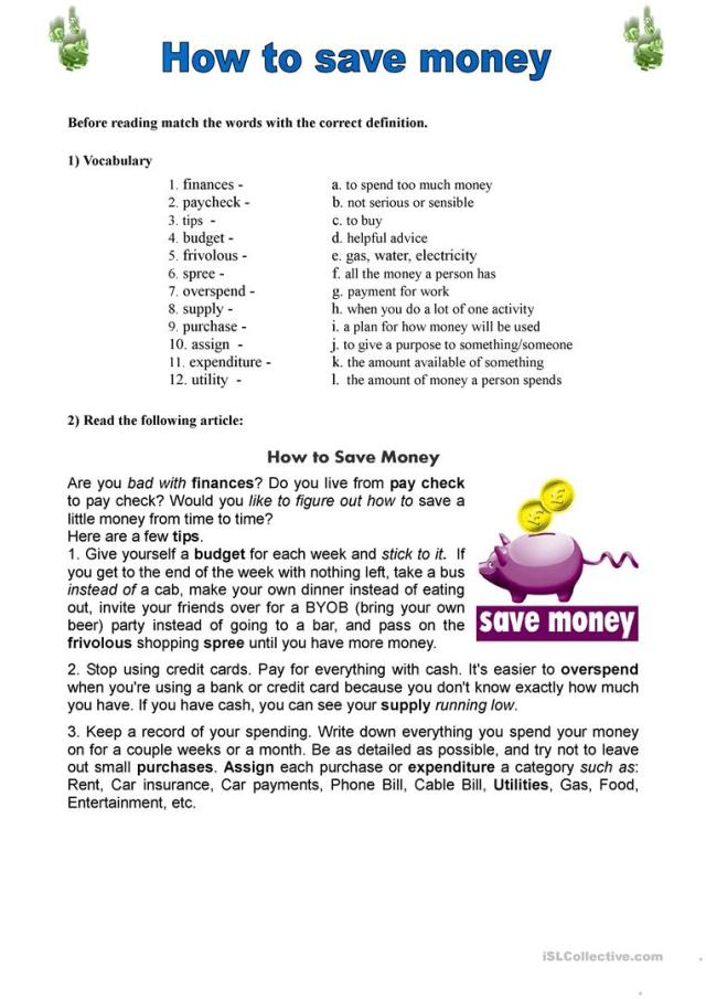 How to save money - English ESL Worksheets for distance learning