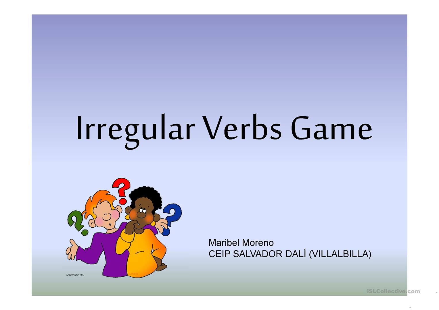 Irregular Verbs Game Past Part 1 Worksheet