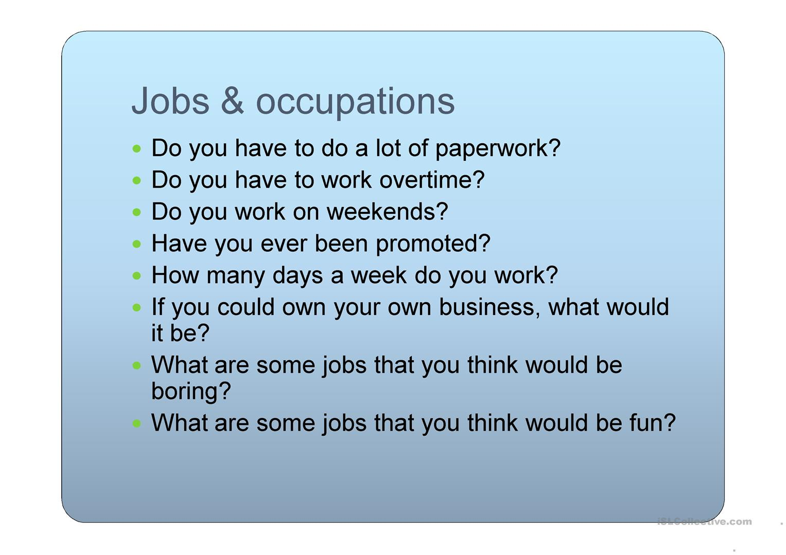 Jobs And Occupations Worksheet