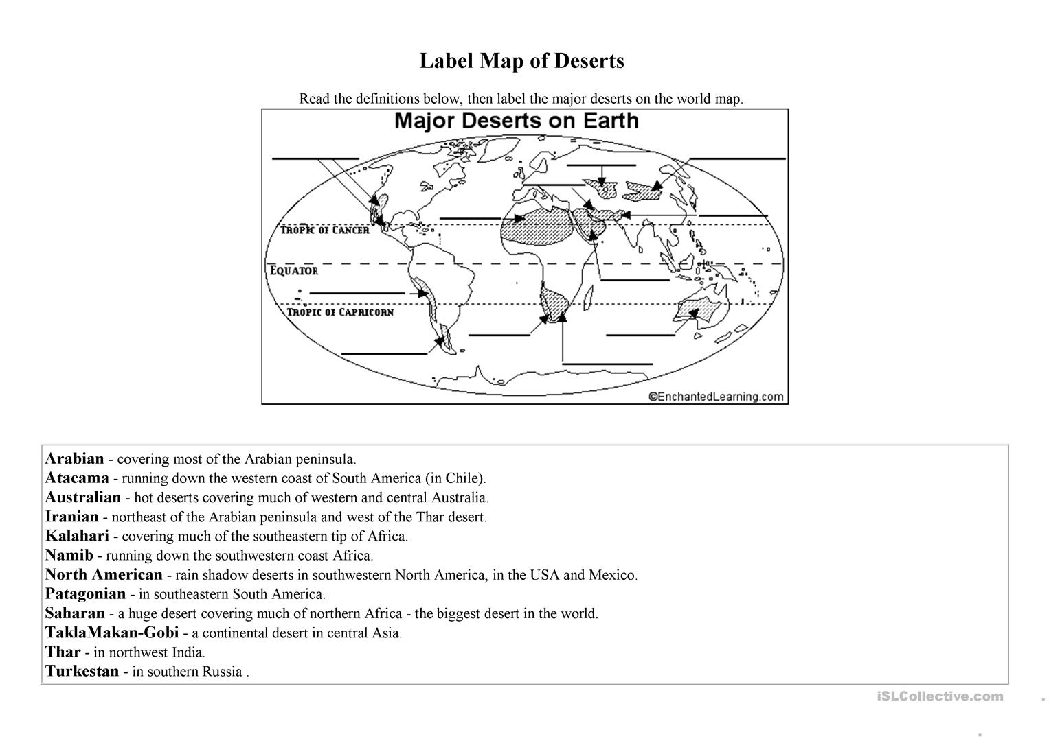 Label Map Terms Worksheet