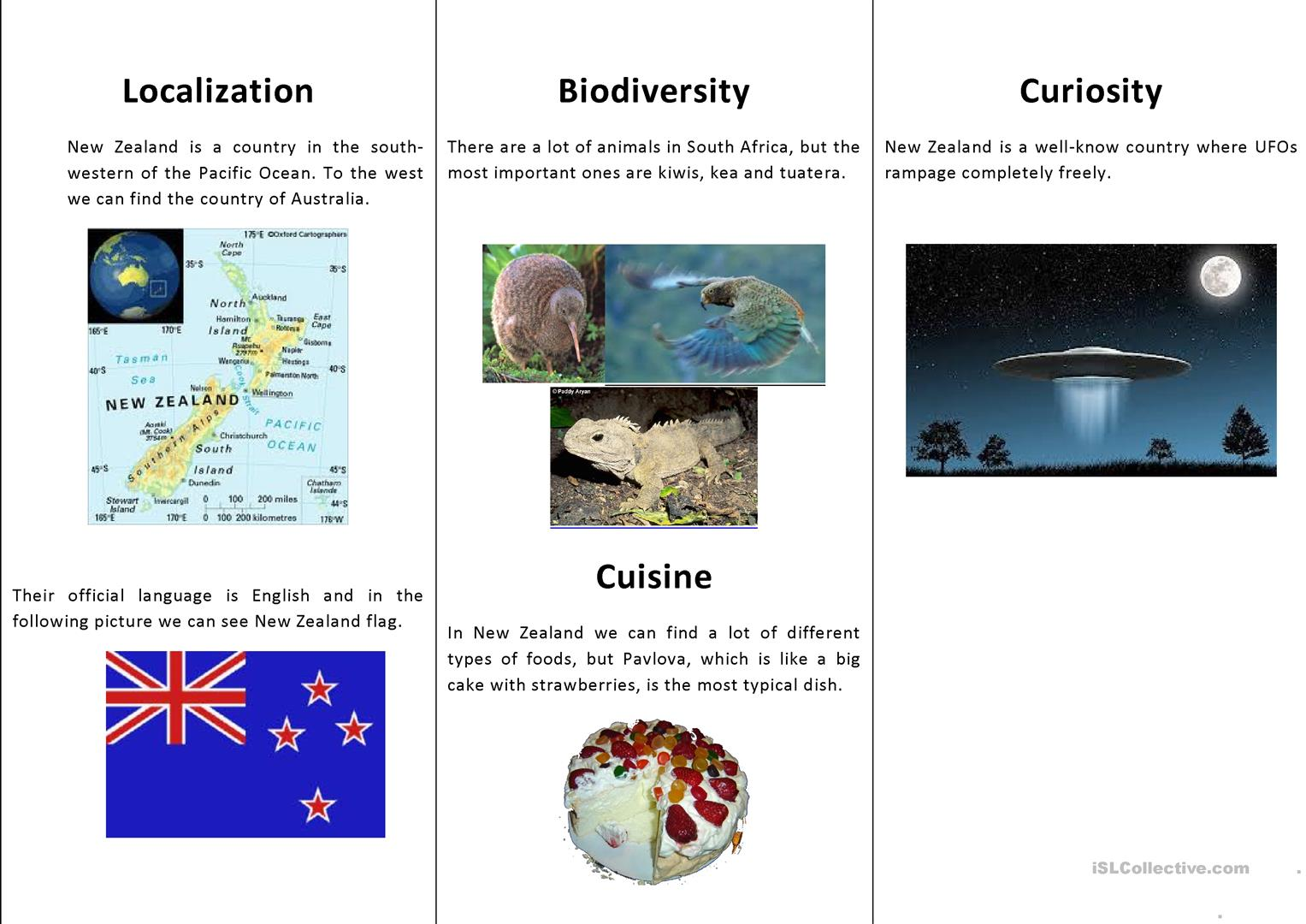 Let S Discover New Zealand Worksheet