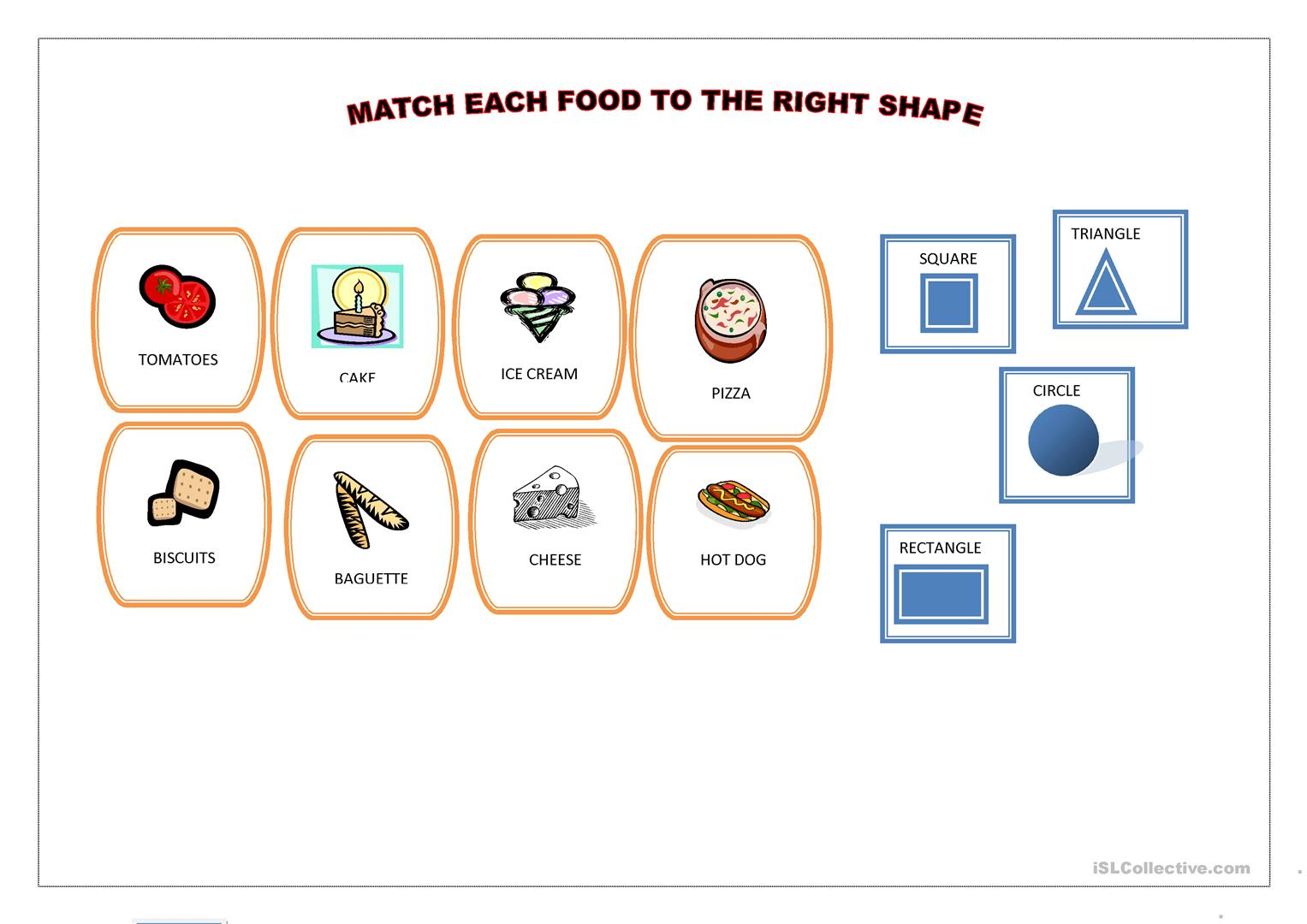 Match Each Food To The Right Shape