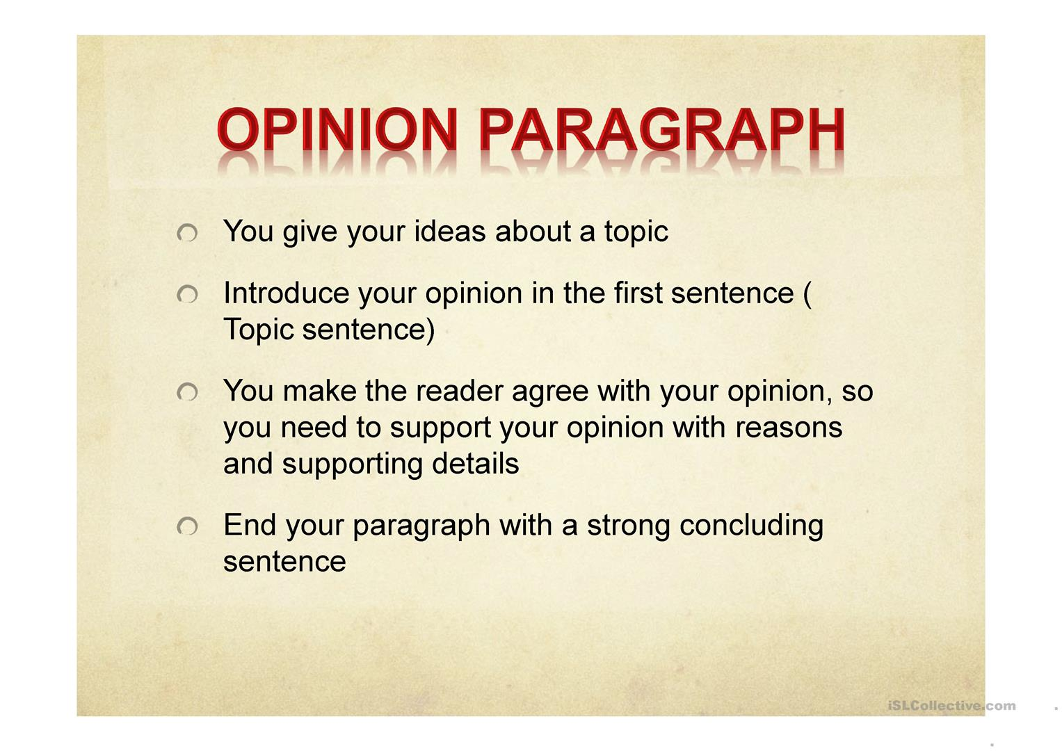 Opinion Paragraph Worksheet