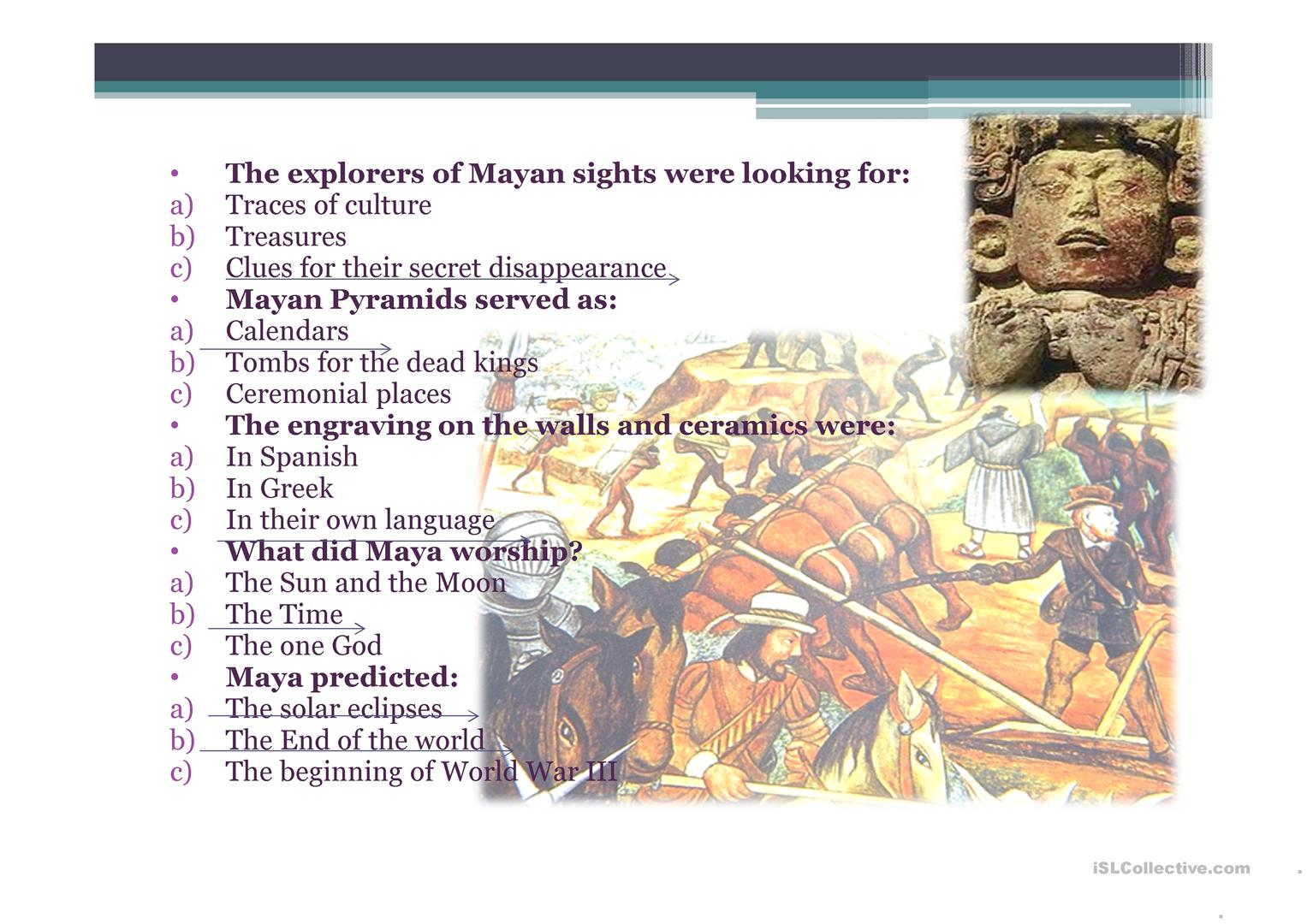 Quiz For The Video About Mayan Civilization Worksheet