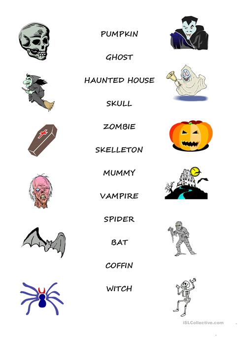 Halloween Vocabulary Pictures Reviewwalls