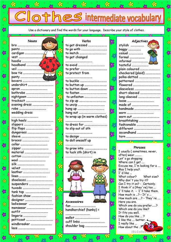 Clothes Vocabulary For Intermediate Level Worksheet