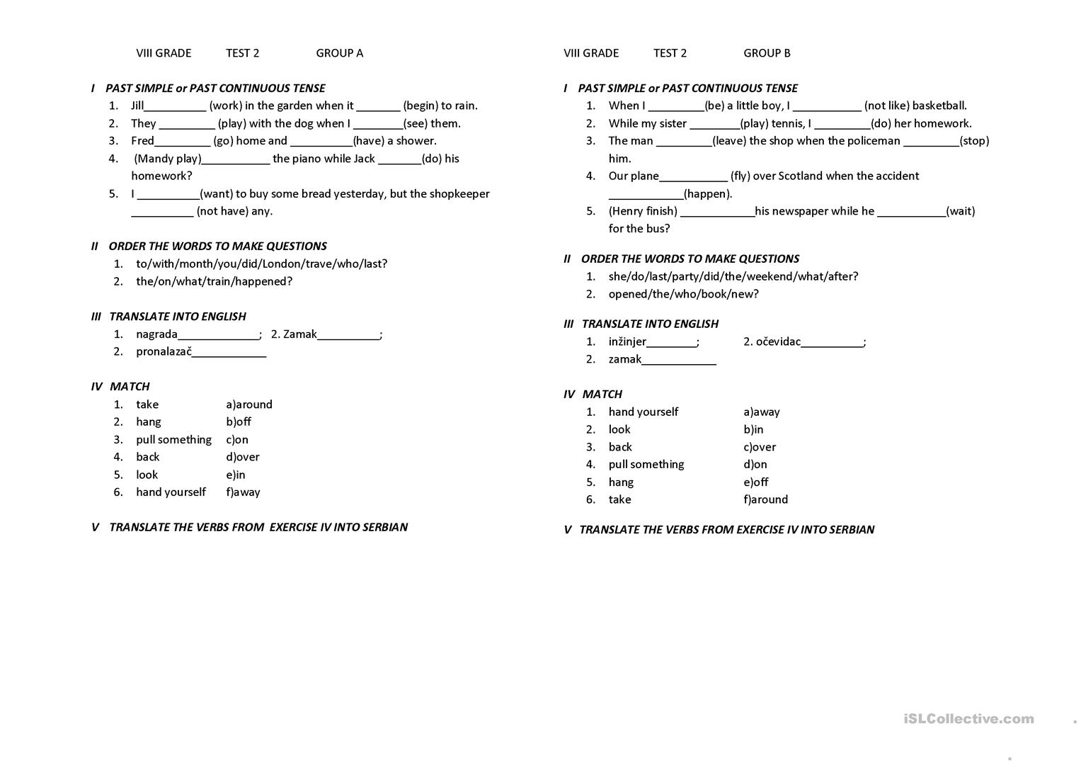 8th Grade Test For Serbian Children Worksheet