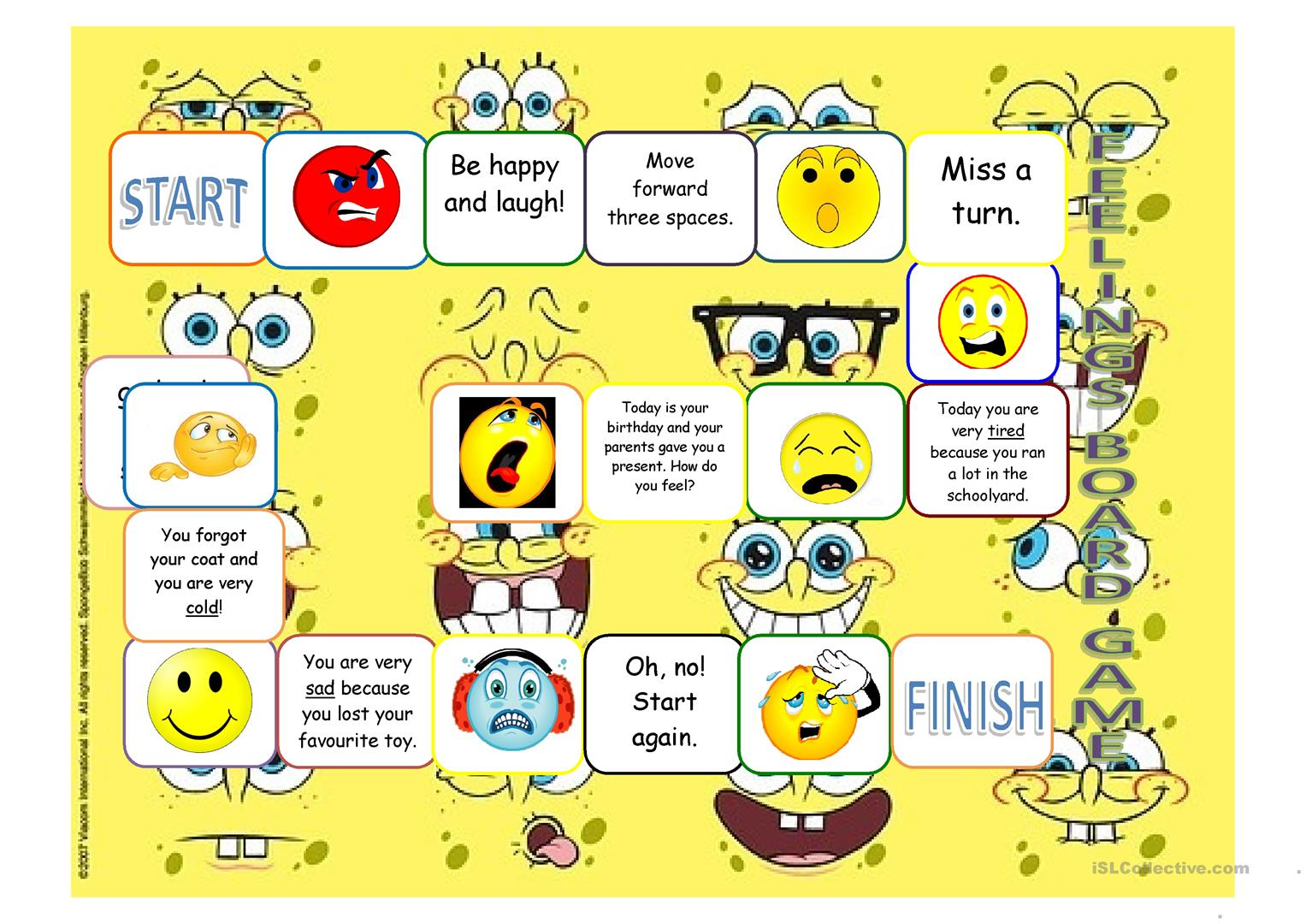 Feelings Board Game Worksheet