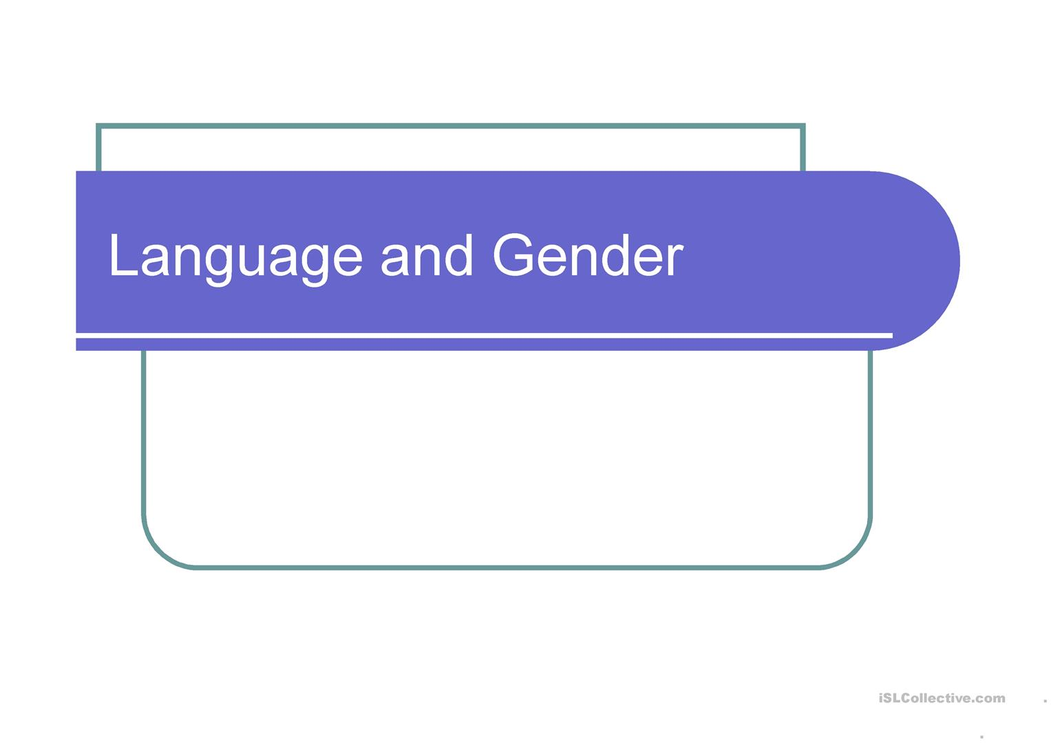 Genderysis In Language Worksheet