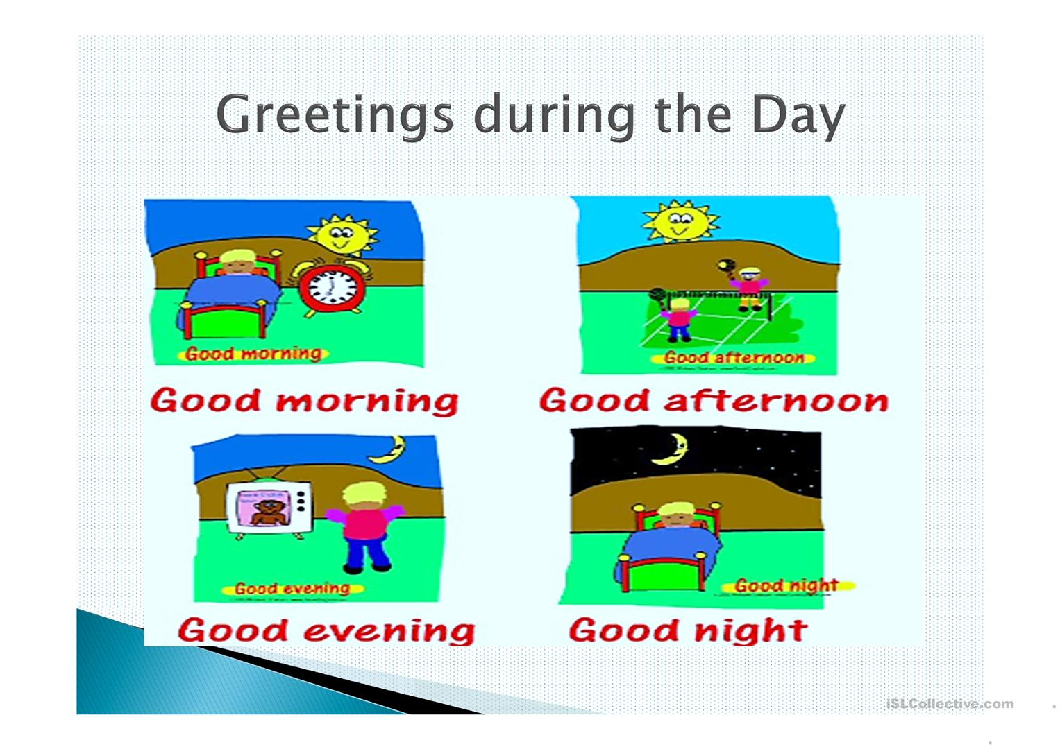 Worksheet Greetings Esl